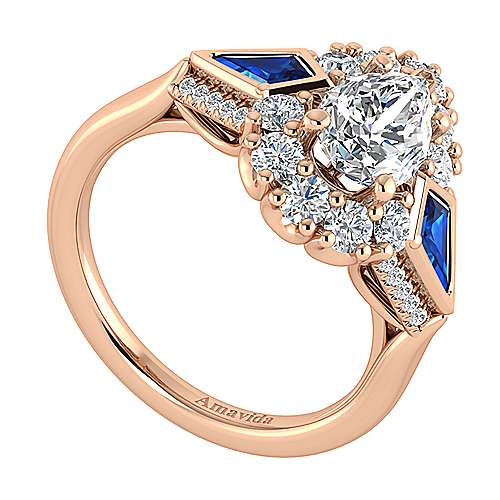 18k Pink Gold Diamond  And Sapphire Halo Engagement Ring angle 3