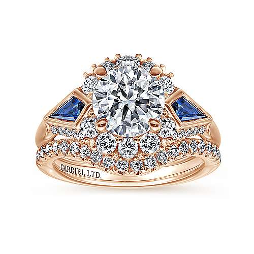 18k Pink Gold Diamond  And Sapphire Halo Engagement Ring angle 4
