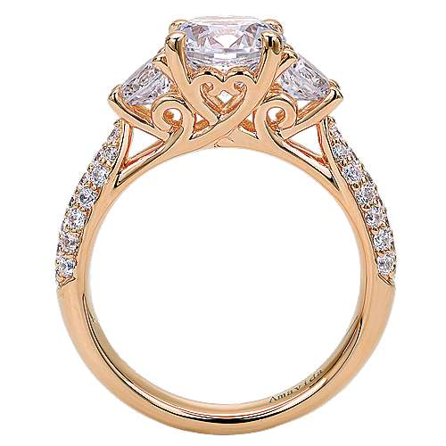 18k Pink Gold Diamond 3 Stones Engagement Ring angle 2