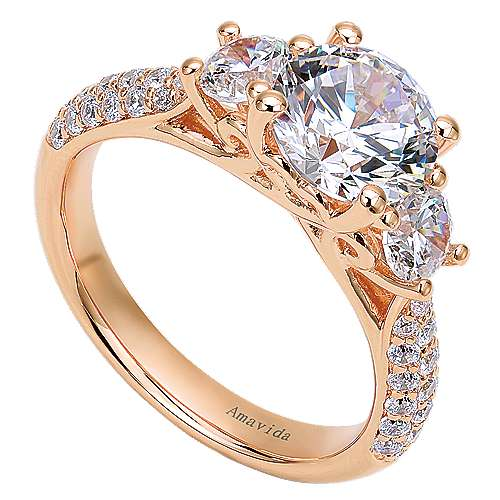 18k Pink Gold Diamond 3 Stones Engagement Ring angle 3