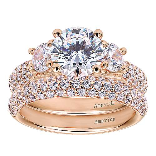 18k Pink Gold Diamond 3 Stones Engagement Ring angle 4