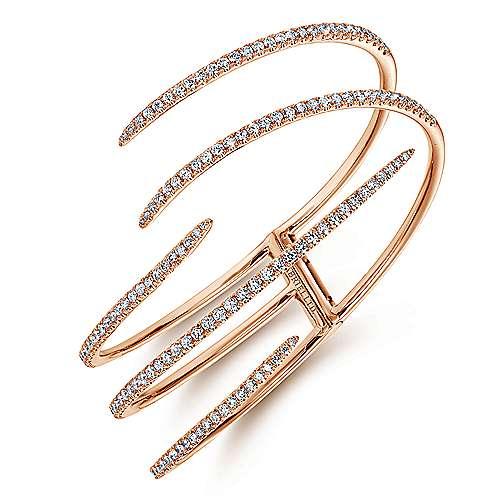 18k Pink Gold Diamond Bangle angle 2