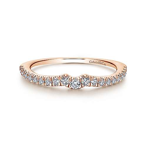 18k Pink Gold Contemporary Curved