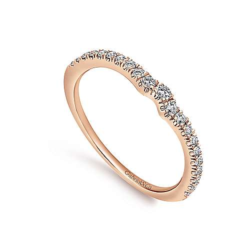 18k Pink Gold Diamond Curved Wedding Band angle 3