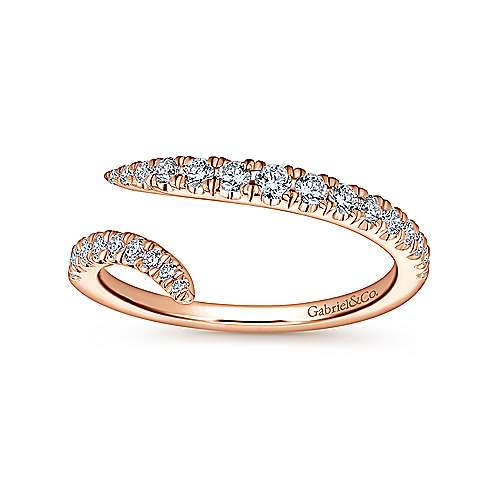 18k Pink Gold Diamond Curved Wedding Band angle 5