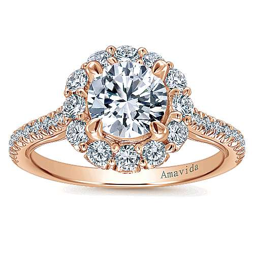 18k Pink Gold Diamond Halo Engagement Ring angle 5