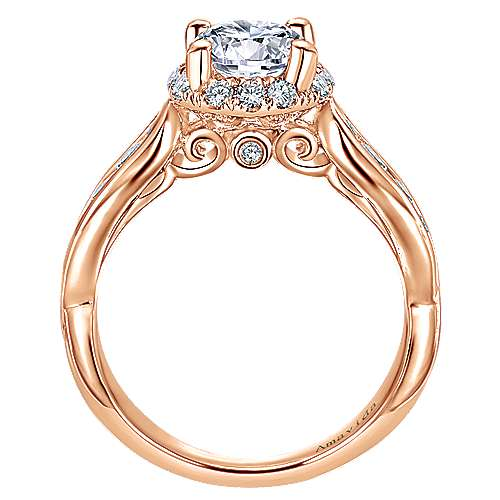 18k Pink Gold Diamond Halo Engagement Ring angle 2