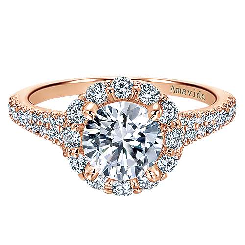 18k Pink Gold Diamond Halo Engagement Ring angle 1