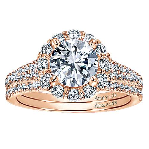 18k Pink Gold Diamond Halo Engagement Ring angle 4