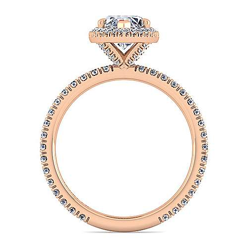 18k Pink Gold Diamond Halo Engagement Ring angle 2