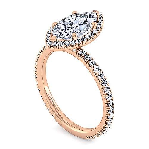 18k Pink Gold Diamond Halo Engagement Ring angle 3