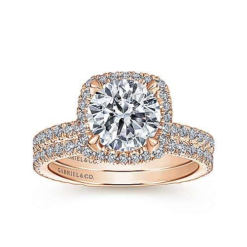 18k Pink Gold Diamond Halo Engagement Ring angle 4