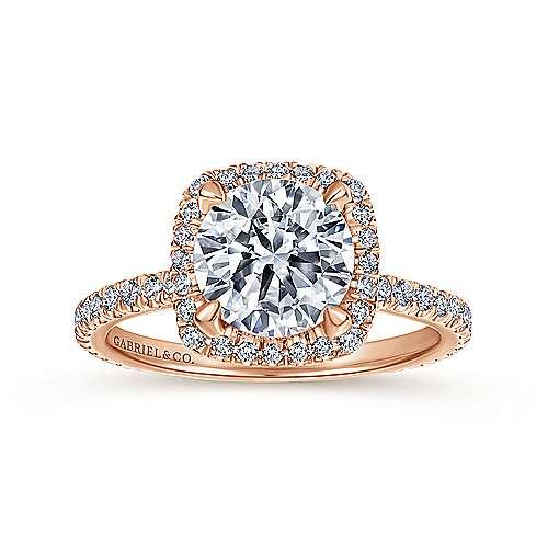18k Pink Gold Diamond Halo Engagement Ring angle 5