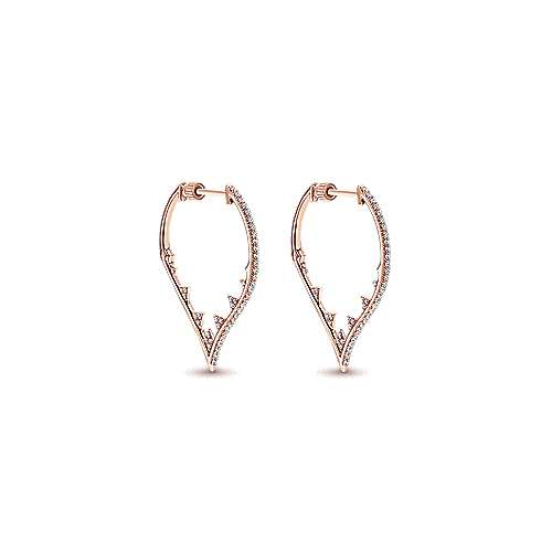 Gabriel - 18k Pink Gold Amavida Fashion Intricate Hoop Earrings