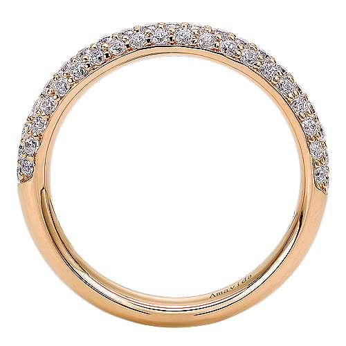 18k Pink Gold Diamond Straight Wedding Band angle 2