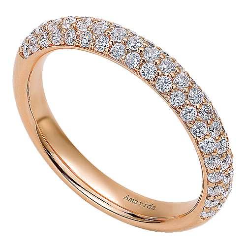 18k Pink Gold Diamond Straight Wedding Band angle 3
