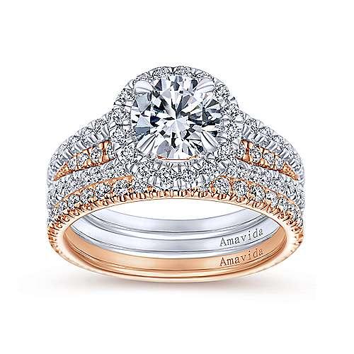 18k Pink Gold Diamond Straight Wedding Band angle 4