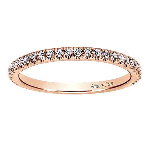 18k Pink Gold Diamond Straight Wedding Band angle 5
