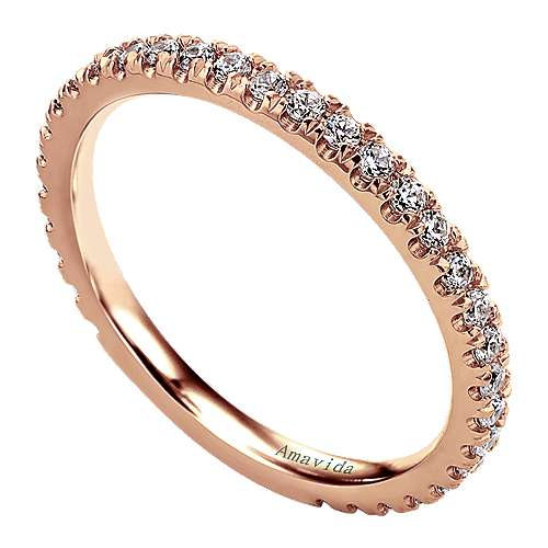 18k Pink Gold Diamond Straight Wedding Band angle 3