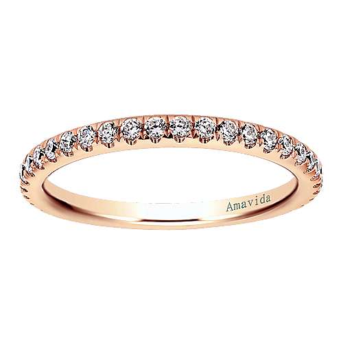 18k Pink Gold Diamond Straight Wedding Band angle 5