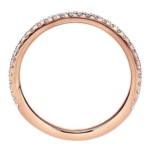 18k Pink Gold Diamond Wedding Band angle 2