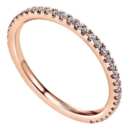 18k Pink Gold Diamond Wedding Band angle 3