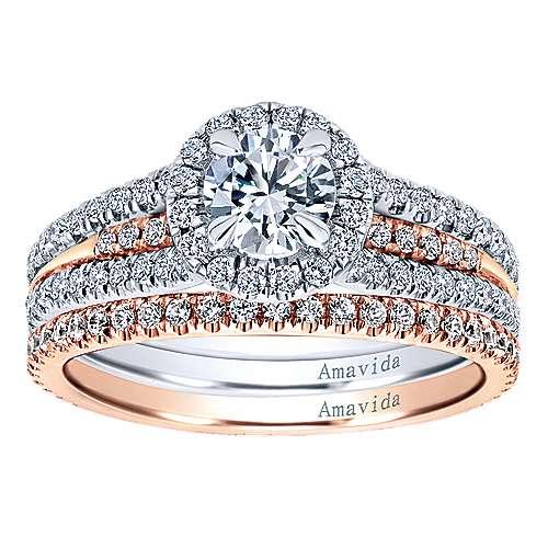 18k Pink Gold Diamond Wedding Band angle 4