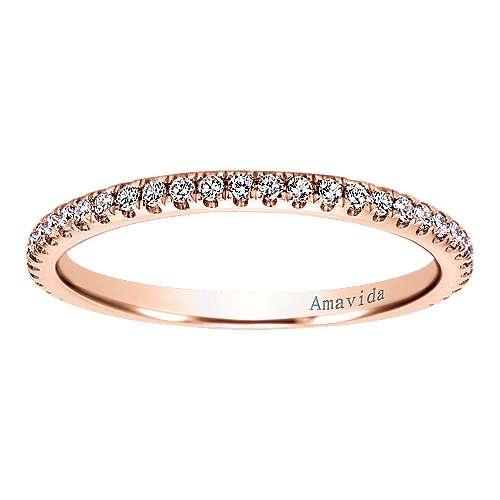 18k Pink Gold Diamond Wedding Band angle 5