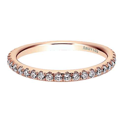 18k Pink Gold Diamond Wedding Band angle 1
