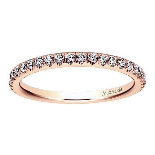 18k Pink Gold Diamond Wedding Band angle 5