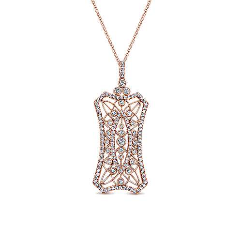 18k Pink Gold Intricate Pave Diamond Openwork Fashion