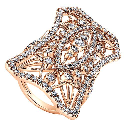 18k Pink Gold Pave Diamond Lattice Fashion Ladies