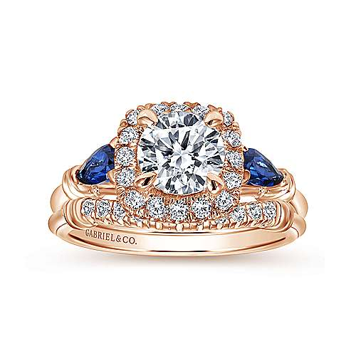 18k Pink Gold Round Halo Engagement Ring angle 4