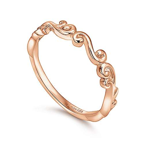 18k Pink Gold Victorian Curved Wedding Band angle 3