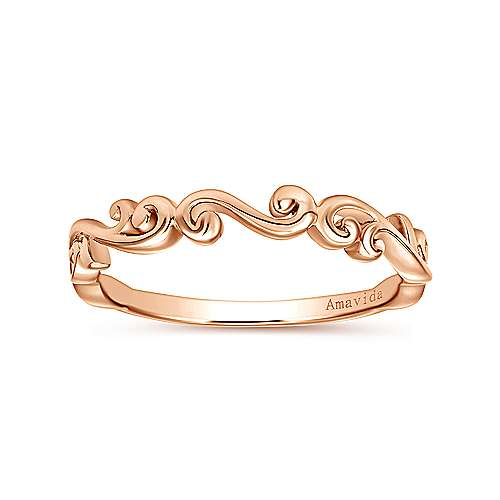 18k Pink Gold Victorian Curved Wedding Band angle 5