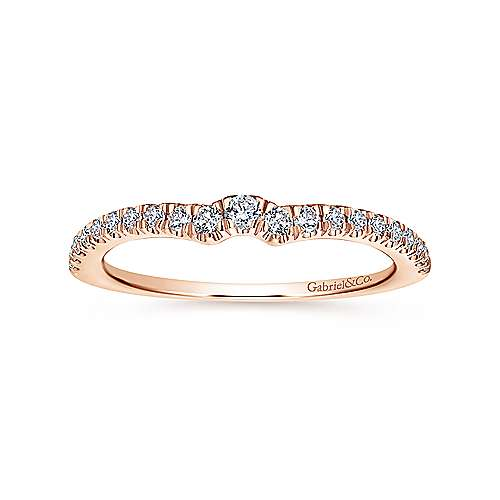 18k Rose Gold Contemporary Curved Wedding Band angle 5