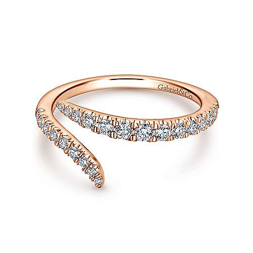 18k Rose Gold Contemporary Curved Wedding Band angle 1