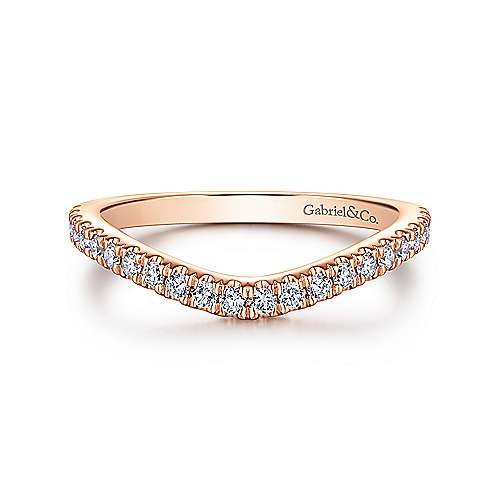 Gabriel - 18k Rose Gold Contemporary Curved Wedding Band