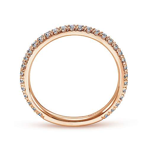18k Rose Gold Contemporary Straight Wedding Band angle 2