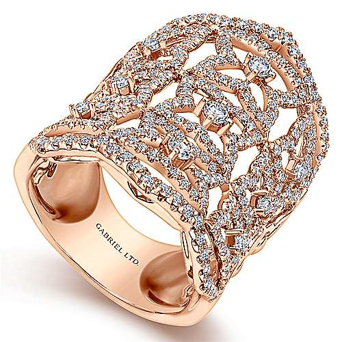 18k Rose Gold Lusso Statement Ladies' Ring angle 3