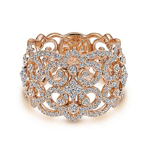 18k Rose Gold Lusso Wide Band Ladies' Ring angle 1