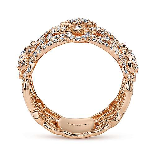 18k Rose Gold Lusso Wide Band Ladies' Ring angle 2