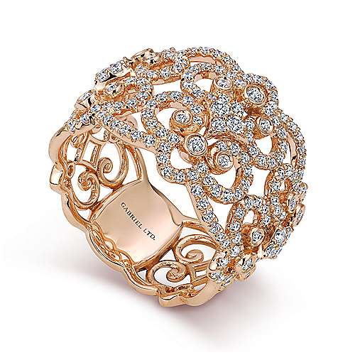 18k Rose Gold Lusso Wide Band Ladies' Ring angle 3