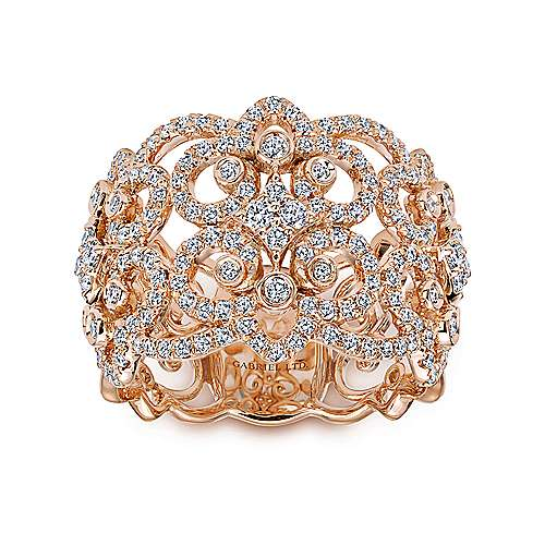 18k Rose Gold Lusso Wide Band Ladies' Ring angle 4