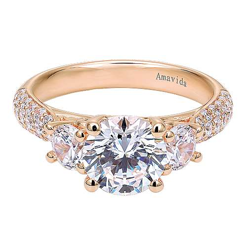 Gabriel - 18k Rose Gold Round 3 Stones Engagement Ring