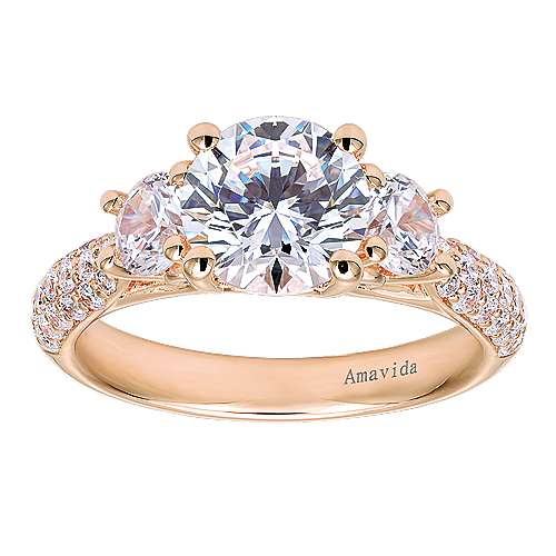 18k Rose Gold Round 3 Stones Engagement Ring