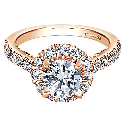 Gabriel - 18k Rose Gold Round Halo Engagement Ring