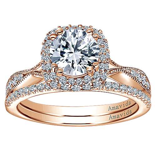 18k Rose Gold Round Halo Engagement Ring angle 4