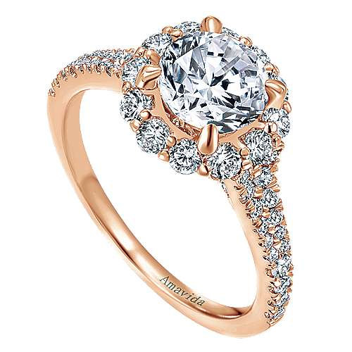 18k Rose Gold Round Halo Engagement Ring angle 3