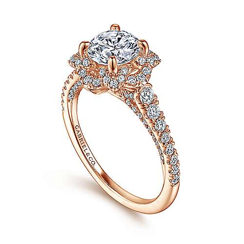 18k Rose Gold Round Halo Engagement Ring